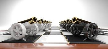 Graus dos canhões brancos e pretos do brinquedo Imagem de Stock Royalty Free