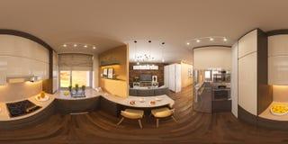 graus esféricos da ilustração 3d 360, panorama sem emenda da sala de visitas e design de interiores da cozinha Foto de Stock Royalty Free