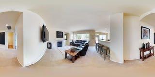 graus esféricos da ilustração 3d 360, um panorama sem emenda do interior home foto de stock royalty free