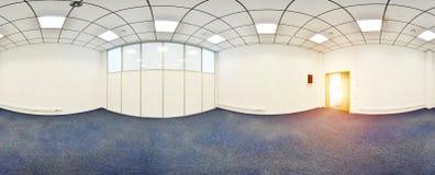 360 graus esféricos da projeção do panorama, panorama na sala vazia interior em apartamentos lisos modernos Imagem de Stock
