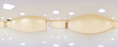 360 graus esféricos da projeção do panorama, panorama na sala vazia interior em apartamentos lisos modernos imagens de stock royalty free