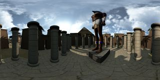 360 graus esféricos, panorama sem emenda do templo do archtecture de Egito antigo e Horus rendição 3d Ilustração do Vetor