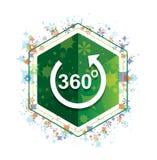 360 graus gerenciem o botão floral do hexágono do verde do teste padrão das plantas do ícone da seta ilustração royalty free