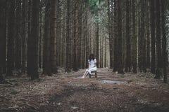 Grausigkeit-Szene einer furchtsamen Frau stockfotos