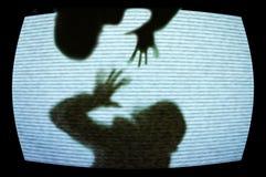 Grausigkeitfernsehapparat Stockbild