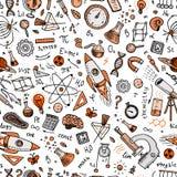 gravé tiré par la main dans le vieux style de croquis et de vintage formules et calculs scientifiques dans la physique et les mat Photographie stock