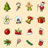 Gravé tiré par la main dans le vieux style de croquis et de vintage pour le label Joyeux Noël ou Noël, collection de nouvelle ann Images stock