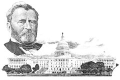 Gravüre von Ulysses S. Grant und von Kapitol Stockbilder