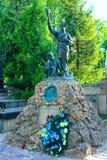 Grav av den ukrainska offentliga personen och historiker Volodymyr Barvinsky på den Lychakiv kyrkogården i Lviv royaltyfri foto