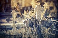 Grav- gammalt kors på kyrkogården royaltyfria foton