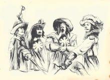 Gravado - TRÊS MOSQUETEIROS ilustração royalty free