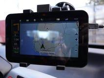 Gravador de vídeo para o carro Usado para gravar o que está acontecendo na estrada Instalado no para-brisa e fotografia de stock royalty free