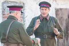 Gravando o ` da fronteira de Ilyinsky do ` do filme na região de Kaluga de Rússia foto de stock