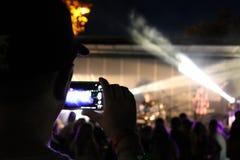 Gravando um concerto Fotos de Stock