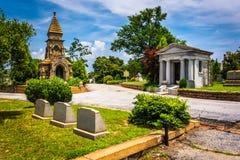 Gravar och mausoleer på den Oakland kyrkogården i Atlanta, Georgia Arkivbild