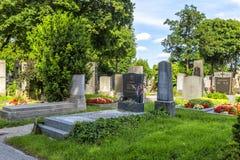 Gravar på den Zentralfriedhof kyrkogården i Wien, Österrike Fotografering för Bildbyråer