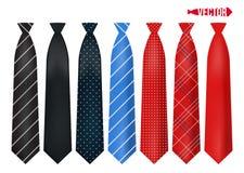 Gravatas coloridas realísticas ajustadas Foto de Stock Royalty Free