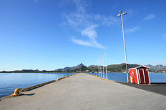 Gravdal's pier with cabin Stock Images