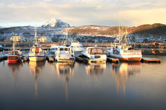 Gravdals harbour in november Stock Photo