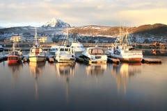 Gravdals harbour in november stock photo