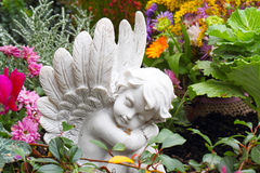 Grave angel in autumn Stock Photo