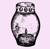 Grave candle. Doodle style, sketch illustration Stock Images