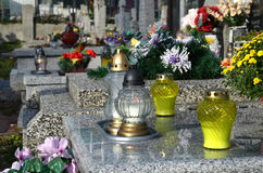 Grave candles Stock Photo