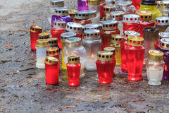 Grave candles Stock Image