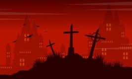 Grave and castle Halloween landscape Stock Images