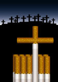 Grave of cigarettes. Vector illustration of cigarettes composed to a grave Stock Image