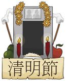 Grave for a Couple with Offerings to Celebrate Ching Ming Festival, Vector Illustration. Granite tombstone for a couple decorated with traditional Qingming stock illustration