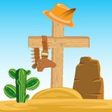 Grave cowpuncher. Vector illustration of the grave cowpuncher on dick west Royalty Free Stock Photo