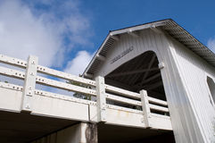 Grave Creek Covered Bridge Blue Sky Stock Image