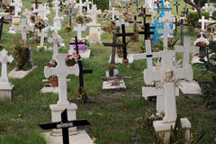 Grave crosses at cemetery / graveyard Royalty Free Stock Photo