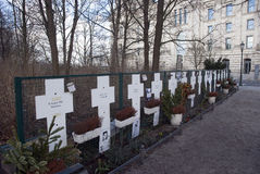 Grave crosses near the brandenburger tor Berlin Stock Images