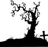 Grave with dead tree on white Stock Photo