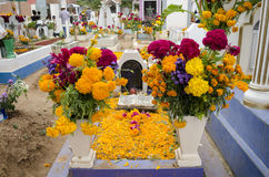 Grave decorated with flowers Stock Photo