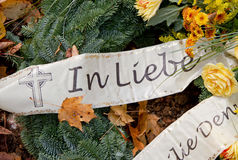 Grave decoration - bow with german words Stock Photo