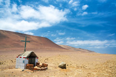 Grave in a Desert. Small grave in the desert near Paracas, Peru Stock Image