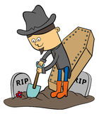 Grave digger. Illustration of a cartoon grave digger with a shovel digging at a graveyard Royalty Free Stock Image