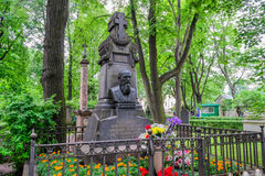Grave Dostoevsky. At the Tikhvin cemetery in St. Petersburg. Fyodor Dostoevsky, the great Russian writer. The monument to Dostoevsky in the old cemetery of St Stock Photography