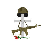 Grave of a fallen soldier. Death of the military. Cross and helm. Et. Automatic gun hanging on monument. Tomb of a military veteran. Vector illustration of Stock Images
