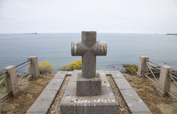 Grave of famous French writer Chateaubriand on the English channel coast in Saint Malo Stock Images