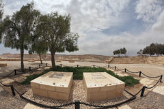 The grave of the founder David Ben-Gurion. The grave of the founder of the State of Israel, David Ben-Gurion and his wife Pauline. Kibbutz Sde Boker in the Negev Royalty Free Stock Image