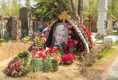 The grave of the great Russian artist Oleg Tabakov. At the Novodevichy Cemetery in Moscow. Russia Moscow. 2 May, 2018 Stock Photos