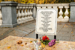 Grave of Hannibal- Pushkin in the Svyatogorsky Monastery Stock Photos