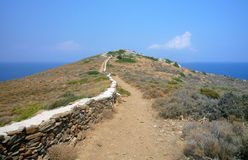 The grave of Homer. The way to the grave of Homer (the writer) on the island of Ios in the Cyclades in Greece Royalty Free Stock Photos