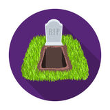 Grave icon in flat style isolated on white background. Funeral ceremony symbol stock vector illustration. Royalty Free Stock Photo