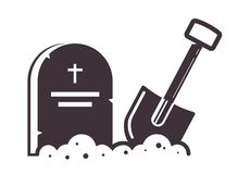 Grave icon with a shovel stuck into the ground. icon on stock illustration