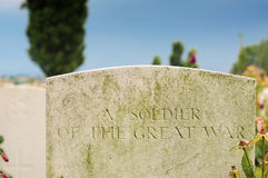 Grave if unknown soldier, Tyne Cot, Passchendaele Stock Photo